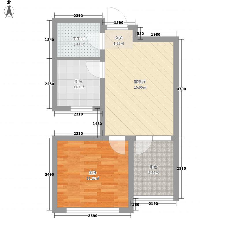 伟东幸福之城湖山美地5.00㎡高层1、4、6#楼A1户型1室2厅1卫1厨