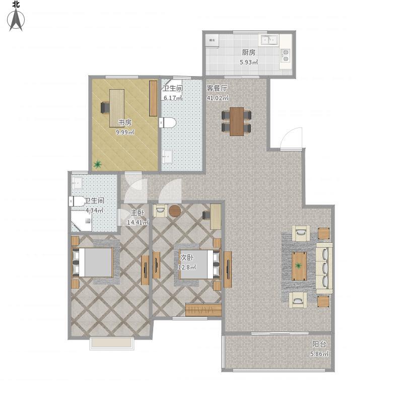 正大盛苑122.59平方B户型三室两厅两卫