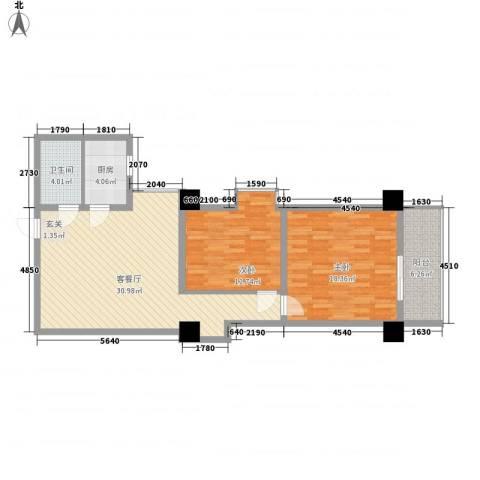 太白星座2室1厅1卫1厨98.00㎡户型图