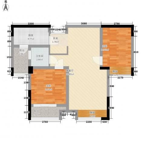 五洲国际2室1厅1卫1厨90.00㎡户型图