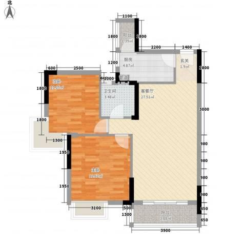 长城世家二期2室1厅1卫1厨91.00㎡户型图