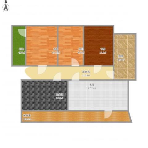 龙翔苑3室1厅1卫1厨122.00㎡户型图