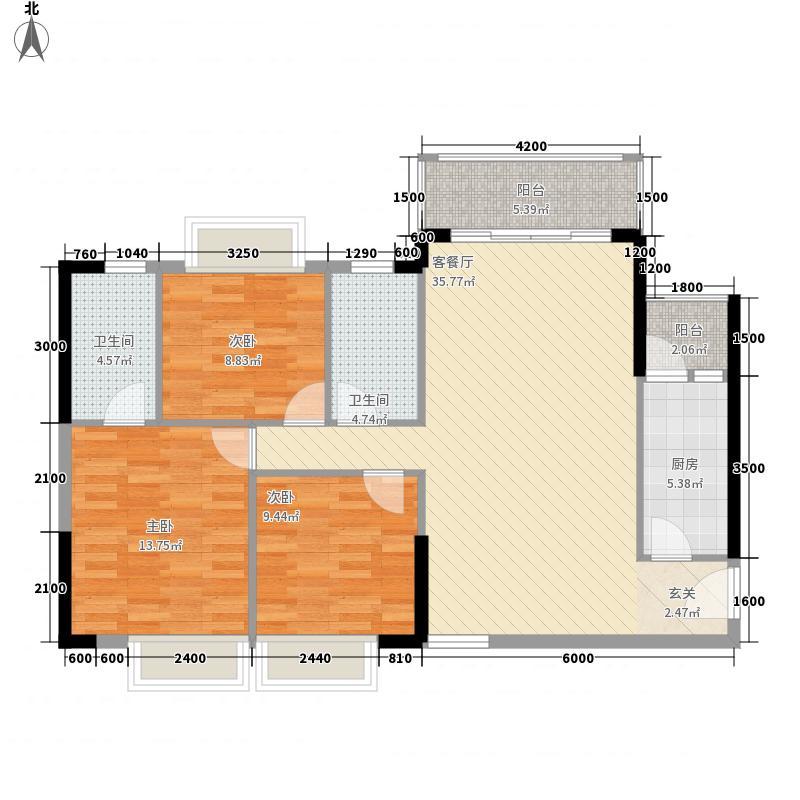 宏益公馆115.00㎡一期一批单位1栋1单元、2单元标准层户型3室2厅2卫