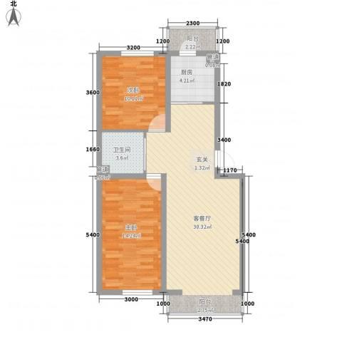 可心居2室1厅1卫1厨85.00㎡户型图