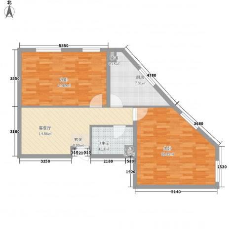 翰香府2室1厅1卫1厨91.00㎡户型图
