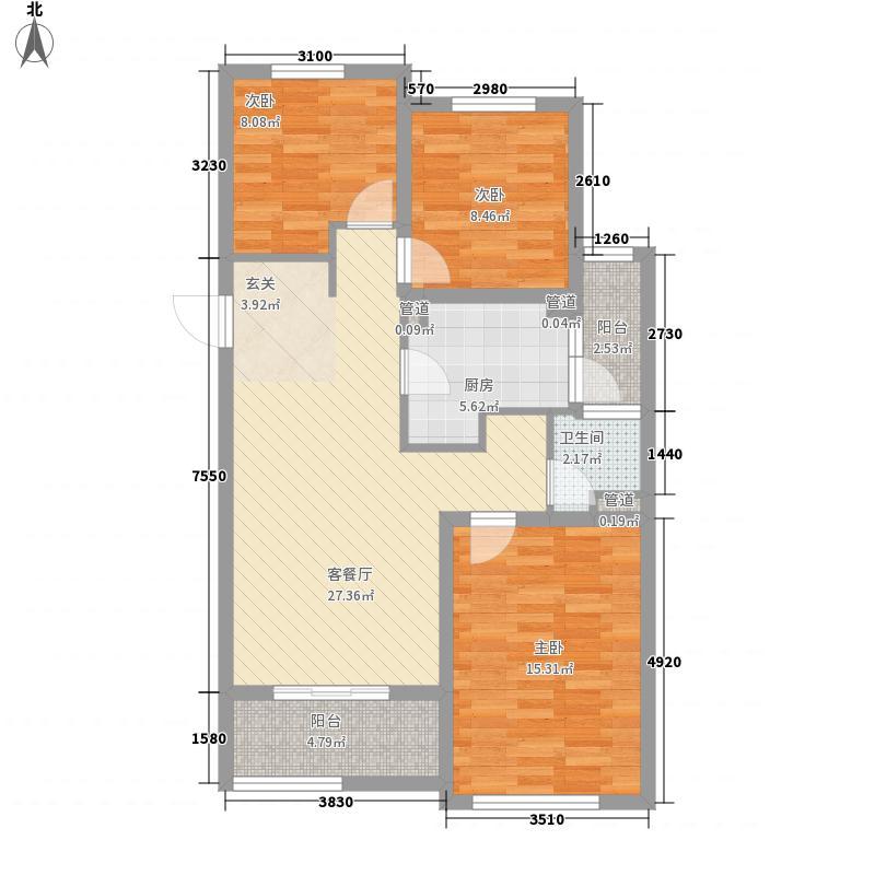 天山水榭花都3室1厅1卫1厨108.00㎡户型图