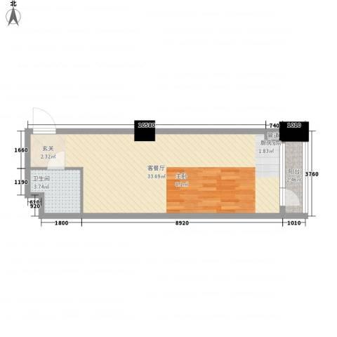 中金名筑1厅1卫0厨66.00㎡户型图