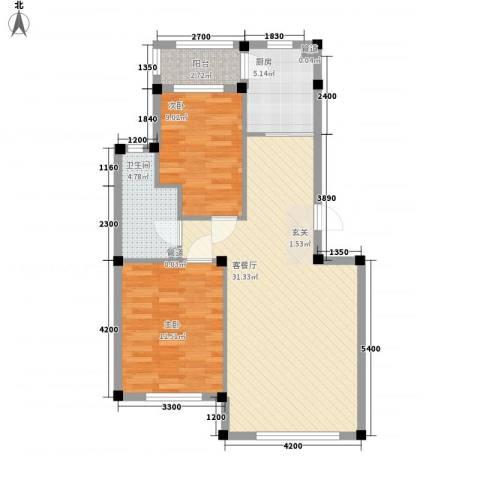 中盛一带山河2室1厅1卫1厨85.00㎡户型图