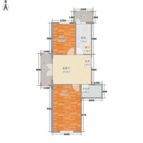 闻达绿都2室1厅1卫1厨68.32㎡户型图