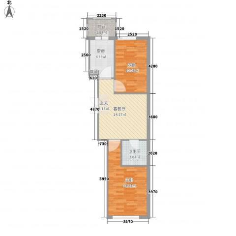闻达绿都2室1厅1卫1厨49.10㎡户型图