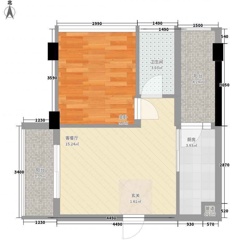 东润华庭57.00㎡户型1室2厅1卫1厨