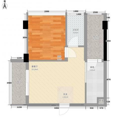 东润华庭1室1厅1卫1厨57.00㎡户型图