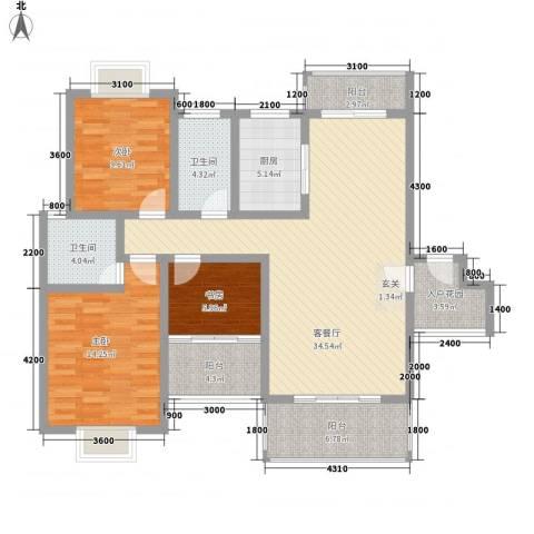 名扬鑫城3室1厅2卫1厨121.00㎡户型图