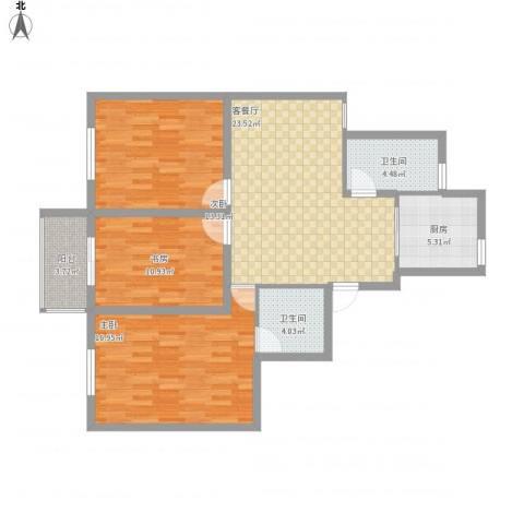 河西南苑3室1厅2卫1厨117.00㎡户型图