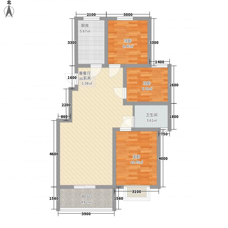 威海石岛碧海鹏城2010101392134户型3室2厅1卫1厨