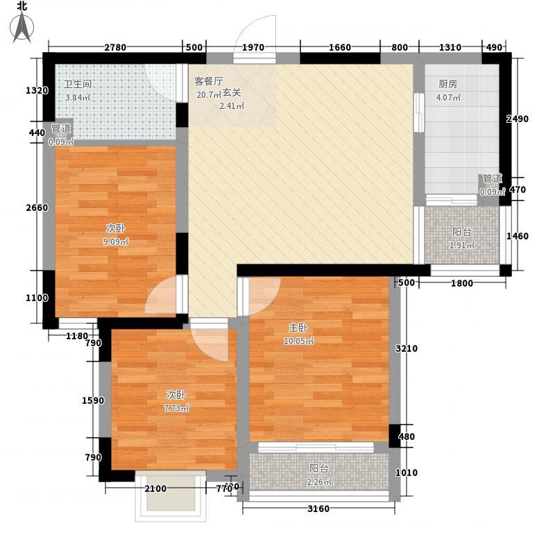 颐青园88.00㎡户型3室2厅1卫1厨