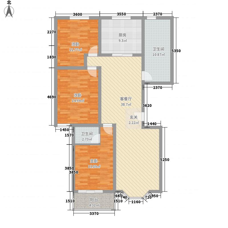 海纳名仕阁151.22㎡一期1号楼B户型3室2厅2卫1厨