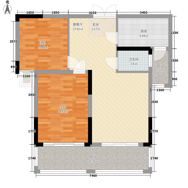 同方・鹤问公馆3-B户型2室2厅1卫1厨