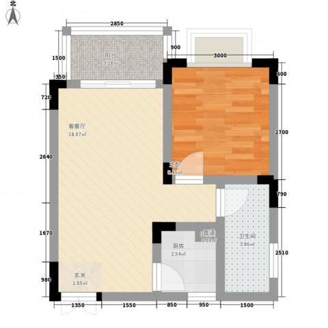 城市水岸1室1厅1卫1厨43.27㎡户型图
