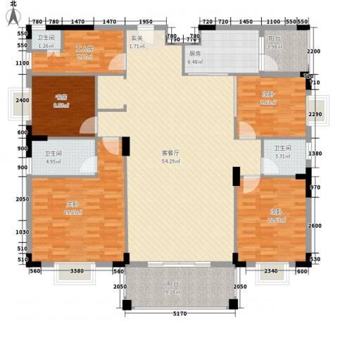 宏新富苑4室1厅3卫1厨140.36㎡户型图