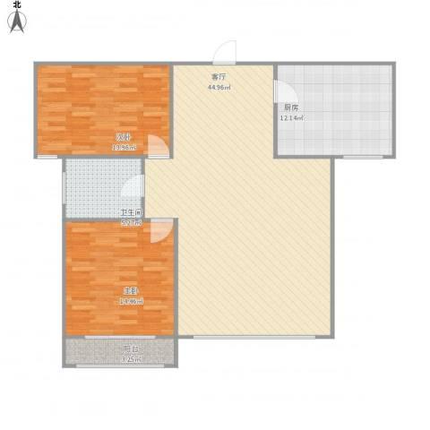 星河湾2室1厅1卫1厨125.00㎡户型图