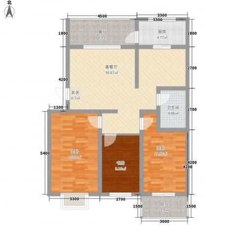 乐活城3室1厅1卫1厨125.00㎡户型图