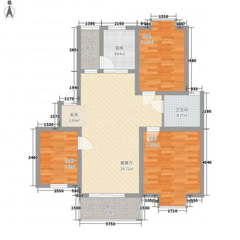 蓝山庄园3室1厅1卫1厨113.00㎡户型图