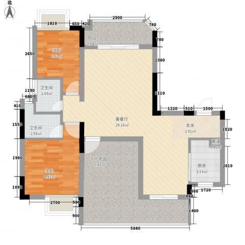 城市杰座2室1厅2卫1厨104.00㎡户型图