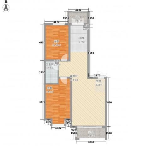 海富金棕榈2室1厅1卫0厨77.53㎡户型图