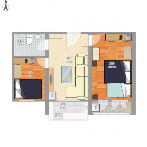 西京社区2室1厅1卫1厨67.00㎡户型图