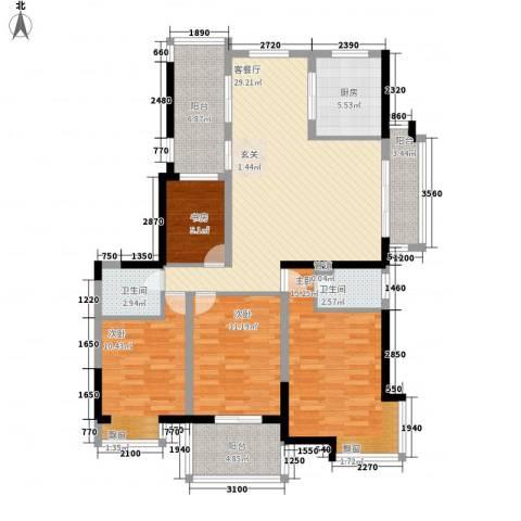 棕榈泉国际花园4室1厅2卫1厨142.00㎡户型图