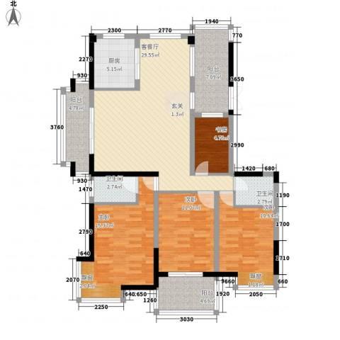棕榈泉国际花园4室1厅2卫1厨143.00㎡户型图