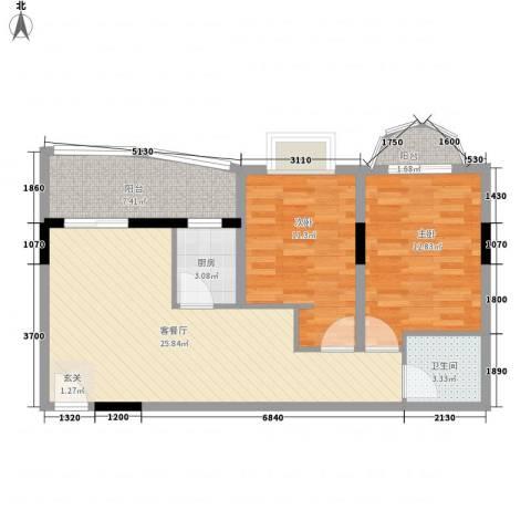铁湖书院2室1厅1卫1厨65.46㎡户型图