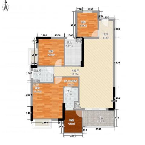 海锦御林苑二期4室1厅2卫1厨121.00㎡户型图