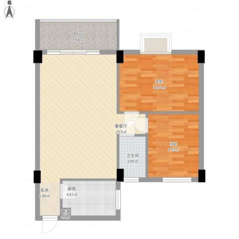 海悦新都会2室1厅1卫1厨90.00㎡户型图