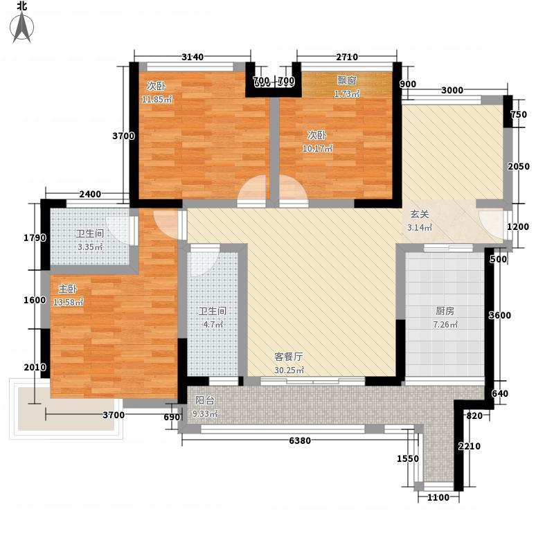 �江一品3室1厅2卫1厨133.00㎡户型图