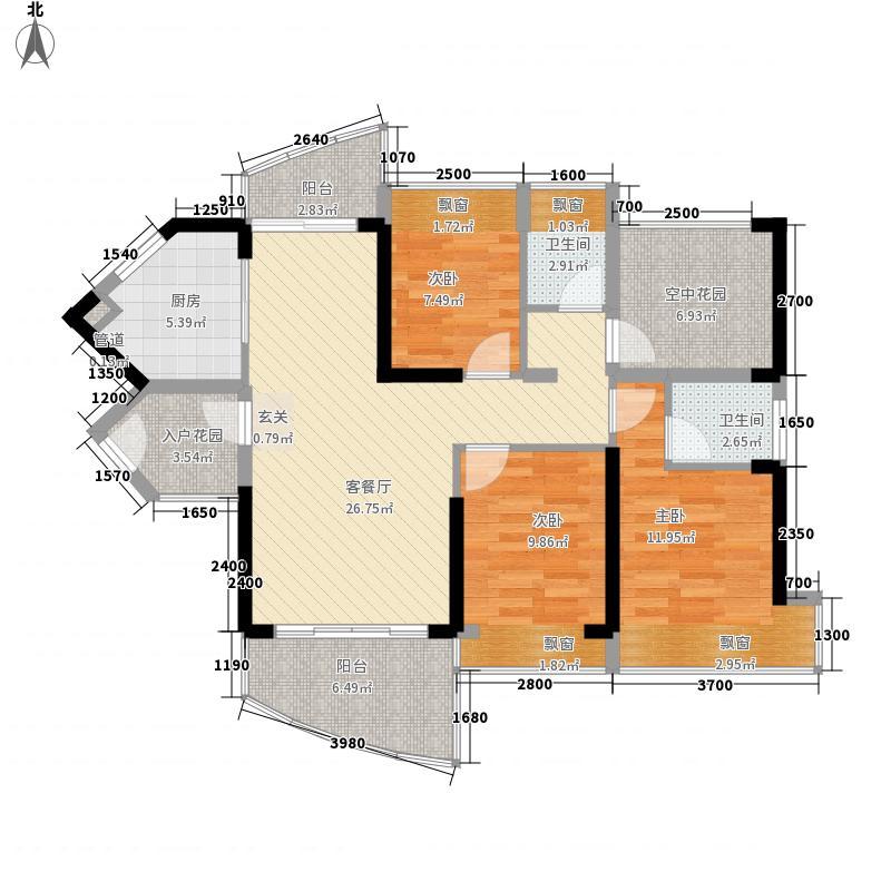 畔山名居・特区青年3室1厅2卫1厨86.92㎡户型图