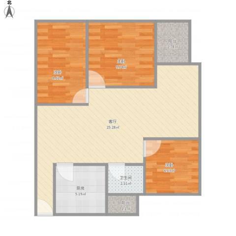 招商桃花园3室1厅1卫1厨65.81㎡户型图