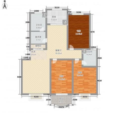 南国风光3室2厅2卫1厨153.00㎡户型图