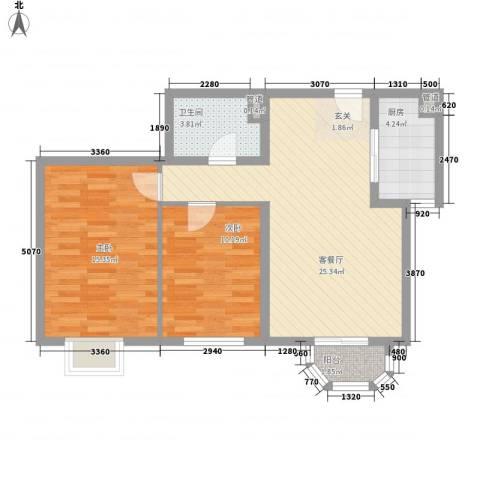 美林海岸花园碧水轩2室1厅1卫1厨88.00㎡户型图