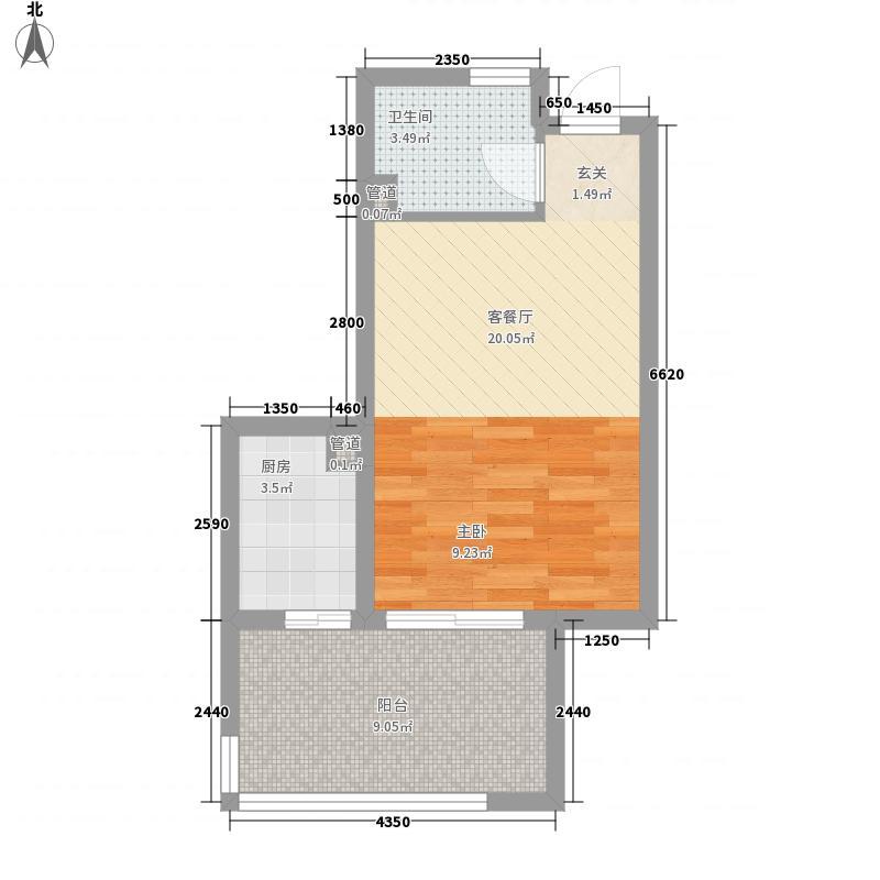 假日港湾53.34㎡高层E户型1室1厅1卫