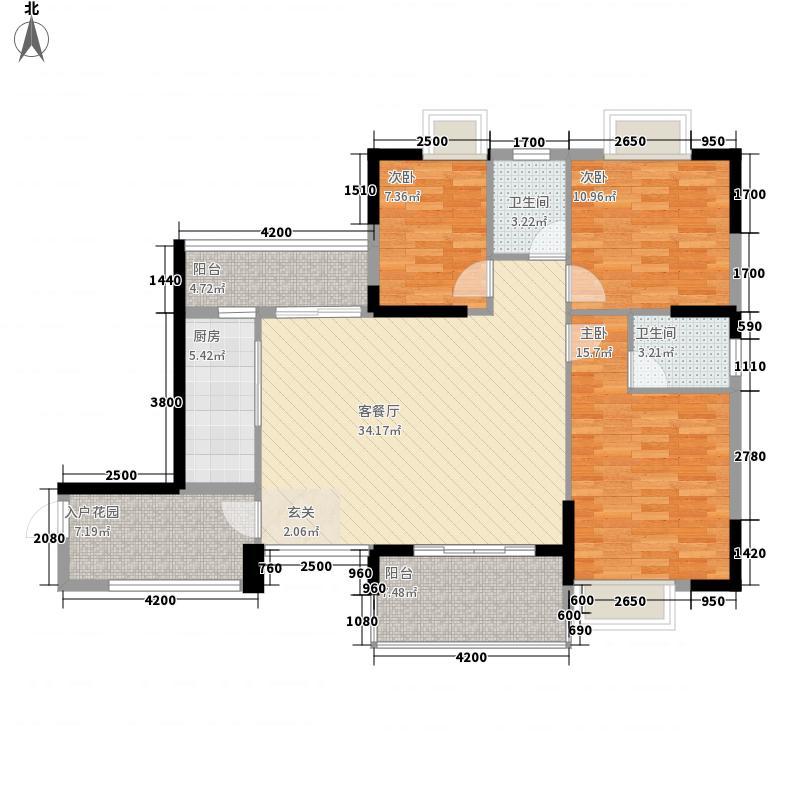 国兆香润广场3室1厅2卫1厨140.00㎡户型图