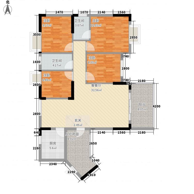 国兆香润广场4室1厅2卫1厨138.00㎡户型图