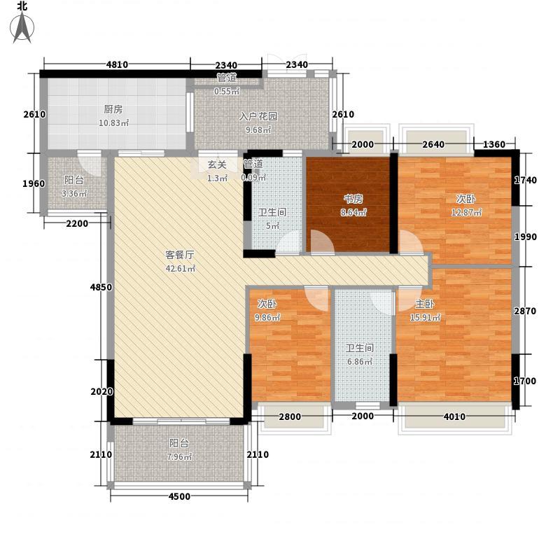 天御・云景162.21㎡C栋03单元标准层户型4室2厅2卫1厨