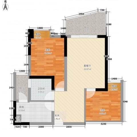 友兰园丁园2室1厅1卫1厨88.00㎡户型图