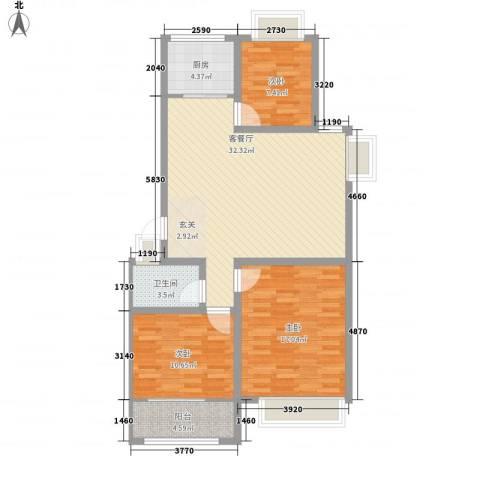 和谐家园3室1厅1卫1厨113.00㎡户型图