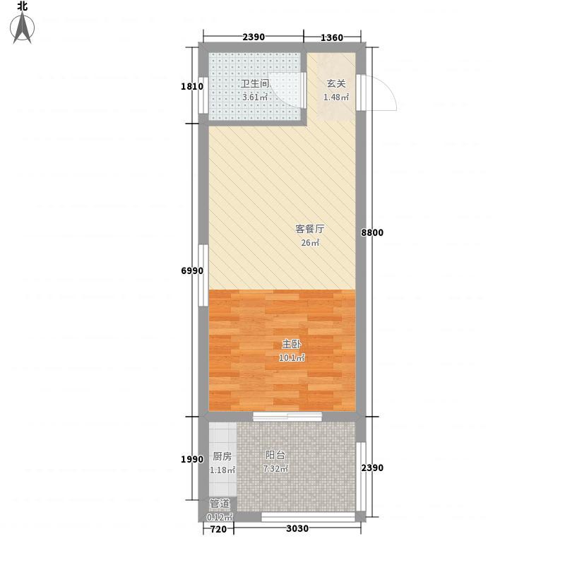 假日港湾53.10㎡高层A户型1室1厅1卫