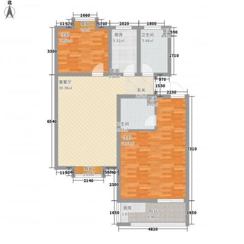 东岸酷博2室1厅2卫1厨130.00㎡户型图