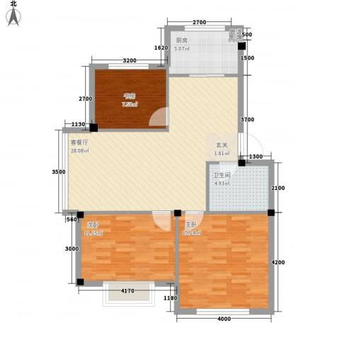 吉祥如意花园3室1厅1卫1厨87.00㎡户型图