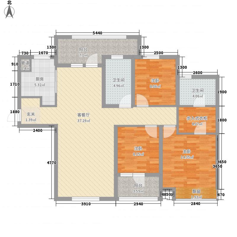 大连天地124.50㎡T19、T20高层户型3室2厅2卫1厨